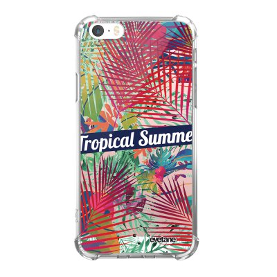 Coque iPhone 5/5S/SE anti-choc souple angles renforcés transparente Tropical Summer Evetane.