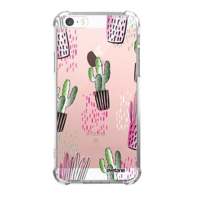 Coque iPhone 5/5S/SE anti-choc souple angles renforcés transparente Cactus motifs Evetane.