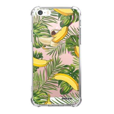Coque iPhone 5/5S/SE anti-choc souple angles renforcés transparente Bananes Tropicales Evetane.
