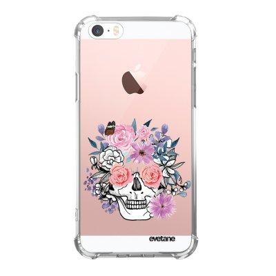 Coque iPhone 5/5S/SE anti-choc souple angles renforcés transparente Crâne floral Evetane.