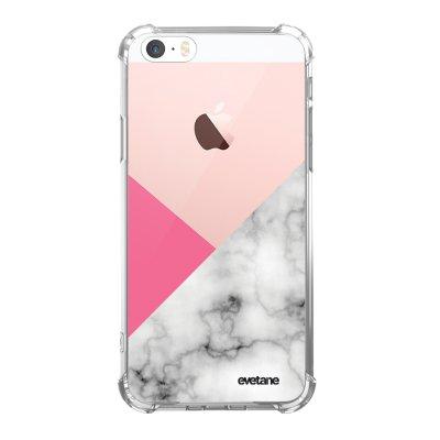 Coque iPhone 5/5S/SE anti-choc souple angles renforcés transparente Marbre rose et gris Evetane.