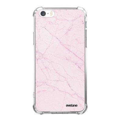 Coque iPhone 5/5S/SE anti-choc souple angles renforcés transparente Marbre rose Evetane.
