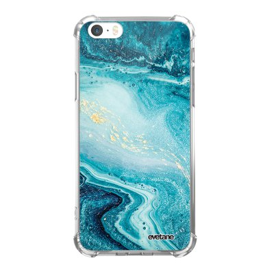 Coque iPhone 5/5S/SE anti-choc souple angles renforcés transparente Bleu Nacré Marbre Evetane.