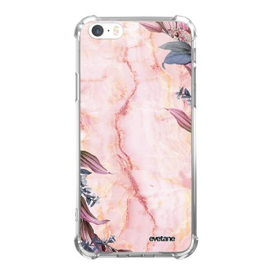 Coque iPhone 5/5S/SE anti-choc souple angles renforcés transparente Marbre Fleurs Evetane.