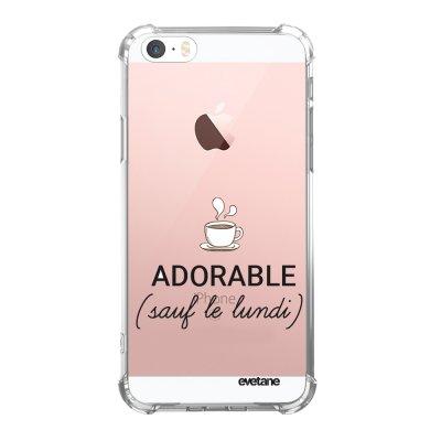 Coque iPhone 5/5S/SE anti-choc souple angles renforcés transparente Adorable Sauf le Lundi Evetane.