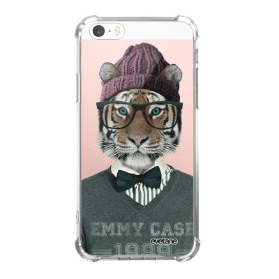 Coque iPhone 5/5S/SE anti-choc souple angles renforcés transparente Tigre Fashion Evetane.