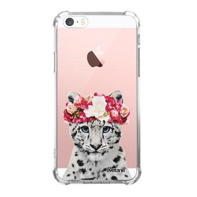 Coque iPhone 5/5S/SE anti-choc souple angles renforcés transparente Leopard Couronne Evetane.