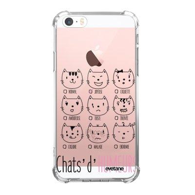 Coque iPhone 5/5S/SE anti-choc souple angles renforcés transparente Chats d'humeurs Evetane.