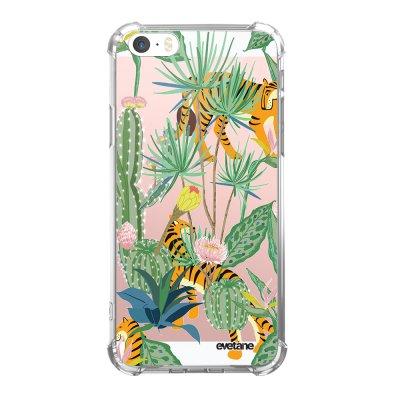 Coque iPhone 5/5S/SE anti-choc souple angles renforcés transparente Tigres et Cactus Evetane.