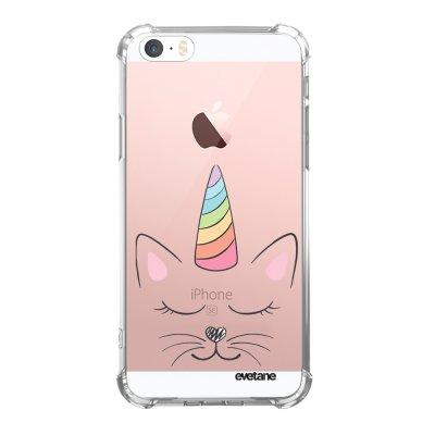 Coque iPhone 5/5S/SE anti-choc souple angles renforcés transparente Chat licorne Evetane.