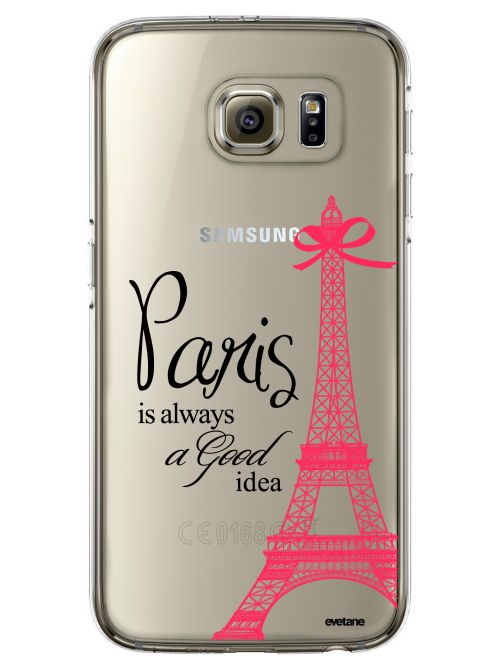 Coque Samsung Galaxy S6 Edge rigide transparente Paris is always a good idea Dessin Evetane - Coquediscount