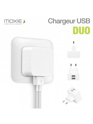 Chargeur Secteur Moxie Duo 2.4A avec 2 Entrées USB
