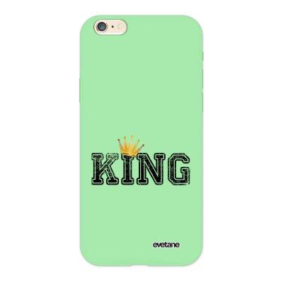 Coque iPhone 6/6S Silicone Liquide Douce vert pâle King Ecriture Tendance et Design Evetane.