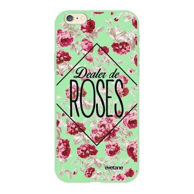 Coque iPhone 6/6S Silicone Liquide Douce vert pâle Dealer de Roses Ecriture Tendance et Design Evetane.