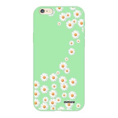 Coque iPhone 6/6S Silicone Liquide Douce vert pâle Marguerite Ecriture Tendance et Design Evetane.