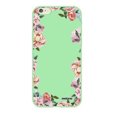 Coque iPhone 6/6S Silicone Liquide Douce vert pâle Flowers Ecriture Tendance et Design Evetane.