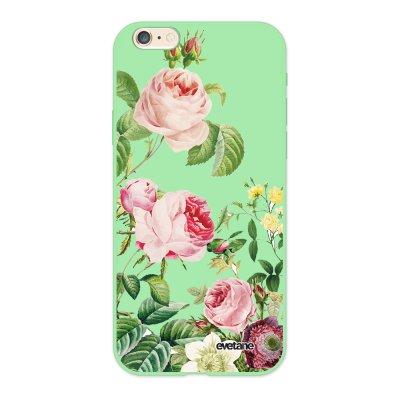 Coque iPhone 6/6S Silicone Liquide Douce vert pâle Motifs Roses Ecriture Tendance et Design Evetane.