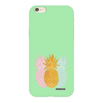 Coque iPhone 6/6S Silicone Liquide Douce vert pâle Ananas trio Ecriture Tendance et Design Evetane.