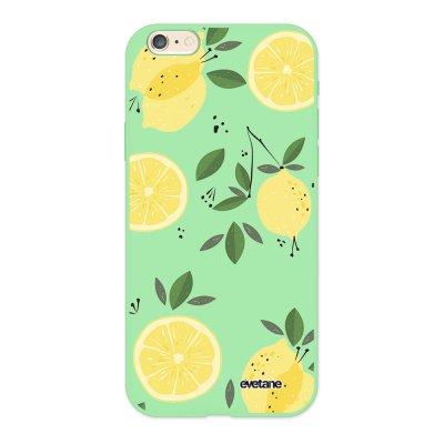 Coque iPhone 6/6S Silicone Liquide Douce vert pâle Citrons Ecriture Tendance et Design Evetane.