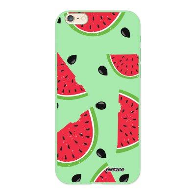 Coque iPhone 6/6S Silicone Liquide Douce vert pâle Pastèque Motifs Ecriture Tendance et Design Evetane.