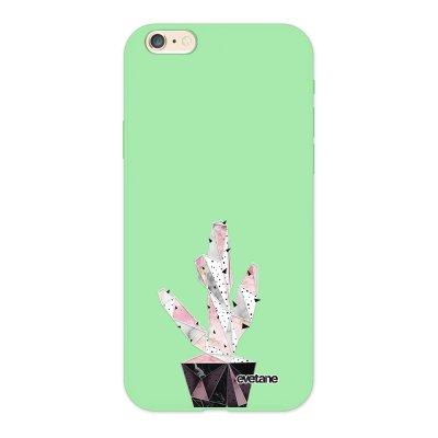 Coque iPhone 6/6S Silicone Liquide Douce vert pâle Cactus Geometrique Marbre Ecriture Tendance et Design Evetane.