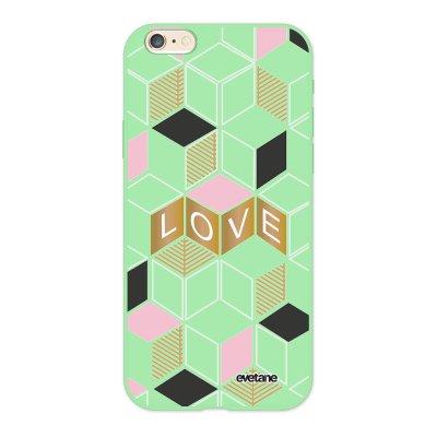 Coque iPhone 6/6S Silicone Liquide Douce vert pâle Cubes love Ecriture Tendance et Design Evetane.