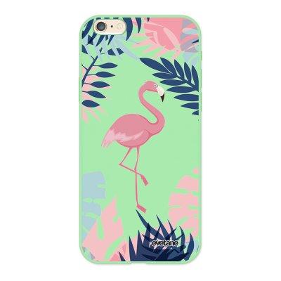 Coque iPhone 6/6S Silicone Liquide Douce vert pâle Flamant Tropical Ecriture Tendance et Design Evetane.