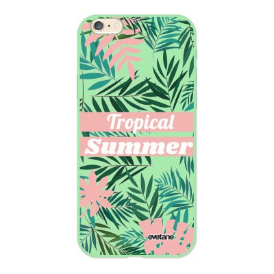 Coque iPhone 6/6S Silicone Liquide Douce vert pâle Tropical Summer Pastel Ecriture Tendance et Design Evetane.