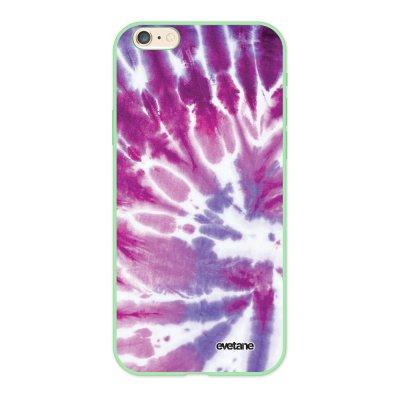 Coque iPhone 6/6S Silicone Liquide Douce vert pâle Tie and Dye Violet Ecriture Tendance et Design Evetane.