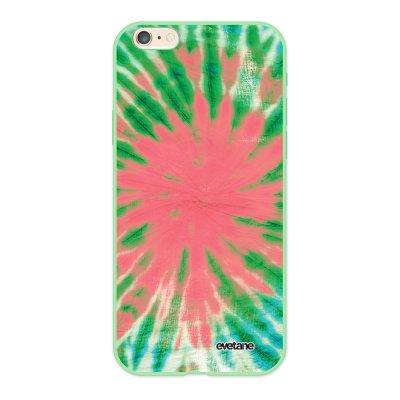 Coque iPhone 6/6S Silicone Liquide Douce vert pâle Tie and Dye Corail Ecriture Tendance et Design Evetane.