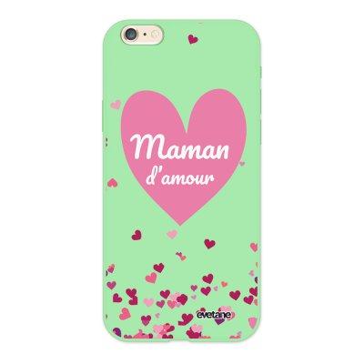Coque iPhone 6/6S Silicone Liquide Douce vert pâle Maman d'amour coeurs Ecriture Tendance et Design Evetane.