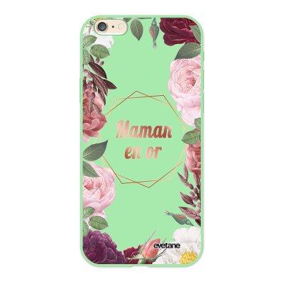 Coque iPhone 6/6S Silicone Liquide Douce vert pâle Coeur Maman D'amour Ecriture Tendance et Design Evetane.