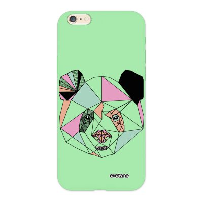 Coque iPhone 6/6S Silicone Liquide Douce vert pâle Panda Outline Ecriture Tendance et Design Evetane.