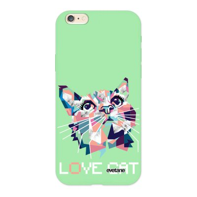 Coque iPhone 6/6S Silicone Liquide Douce vert pâle Cat pixels Ecriture Tendance et Design Evetane.