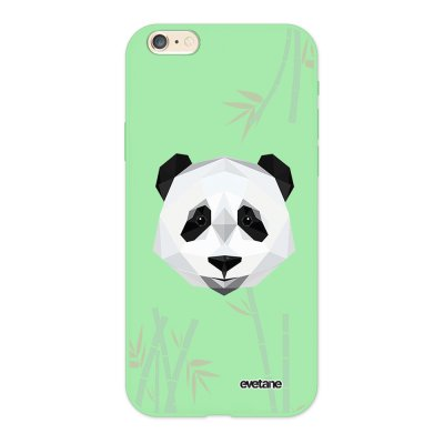 Coque iPhone 6/6S Silicone Liquide Douce vert pâle Panda Bambou Ecriture Tendance et Design Evetane.