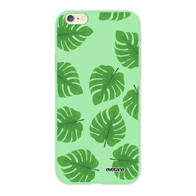 Coque iPhone 6/6S Silicone Liquide Douce vert pâle Feuilles palmiers Ecriture Tendance et Design Evetane.