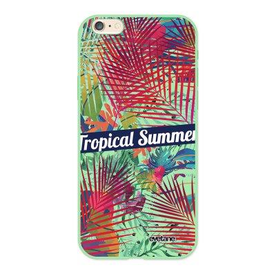 Coque iPhone 6/6S Silicone Liquide Douce vert pâle Tropical Summer Ecriture Tendance et Design Evetane.