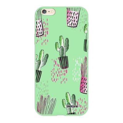 Coque iPhone 6/6S Silicone Liquide Douce vert pâle Cactus motifs Ecriture Tendance et Design Evetane.