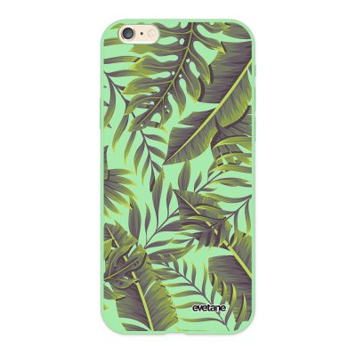 Coque iPhone 6/6S Silicone Liquide Douce vert pâle Feuilles Exotiques Ecriture Tendance et Design Evetane.