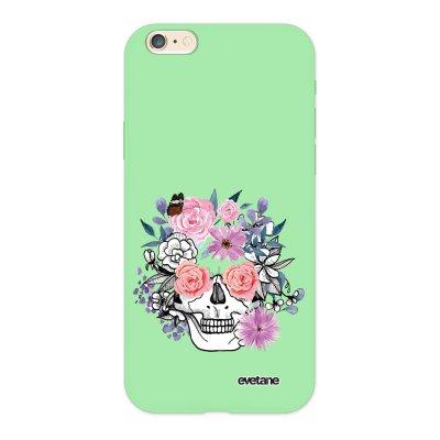 Coque iPhone 6/6S Silicone Liquide Douce vert pâle Crâne floral Ecriture Tendance et Design Evetane.
