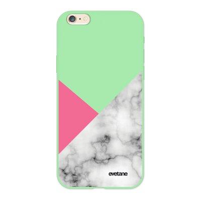 Coque iPhone 6/6S Silicone Liquide Douce vert pâle Marbre rose et gris Ecriture Tendance et Design Evetane.