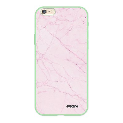 Coque iPhone 6/6S Silicone Liquide Douce vert pâle Marbre rose Ecriture Tendance et Design Evetane.