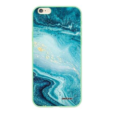 Coque iPhone 6/6S Silicone Liquide Douce vert pâle Bleu Nacré Marbre Ecriture Tendance et Design Evetane.