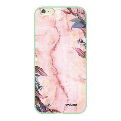 Coque iPhone 6/6S Silicone Liquide Douce vert pâle Marbre Fleurs Ecriture Tendance et Design Evetane.