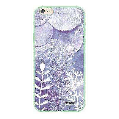 Coque iPhone 6/6S Silicone Liquide Douce vert pâle Nacre et Algues Ecriture Tendance et Design Evetane.