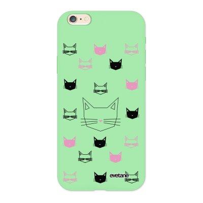 Coque iPhone 6/6S Silicone Liquide Douce vert pâle Cats motifs Ecriture Tendance et Design Evetane.