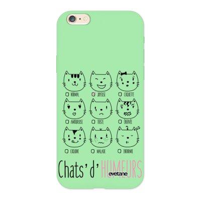 Coque iPhone 6/6S Silicone Liquide Douce vert pâle Chats d'humeurs Ecriture Tendance et Design Evetane.