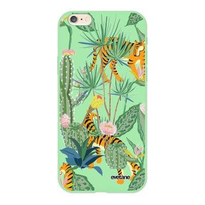 Coque iPhone 6/6S Silicone Liquide Douce vert pâle Tigres et Cactus Ecriture Tendance et Design Evetane.