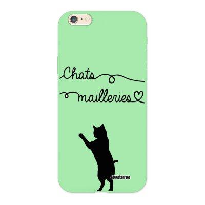 Coque iPhone 6/6S Silicone Liquide Douce vert pâle Chats Mailleries Ecriture Tendance et Design Evetane.