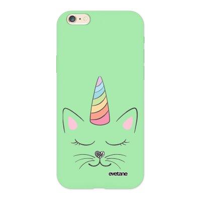 Coque iPhone 6/6S Silicone Liquide Douce vert pâle Chat licorne Ecriture Tendance et Design Evetane.